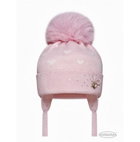 BARBARAS - Cappello in lana fantasia cuori con pon pon in pelliccia