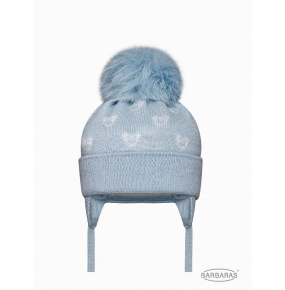 BARBARAS - Cappello in lana fantasia orsetti con pon pon in pelliccia