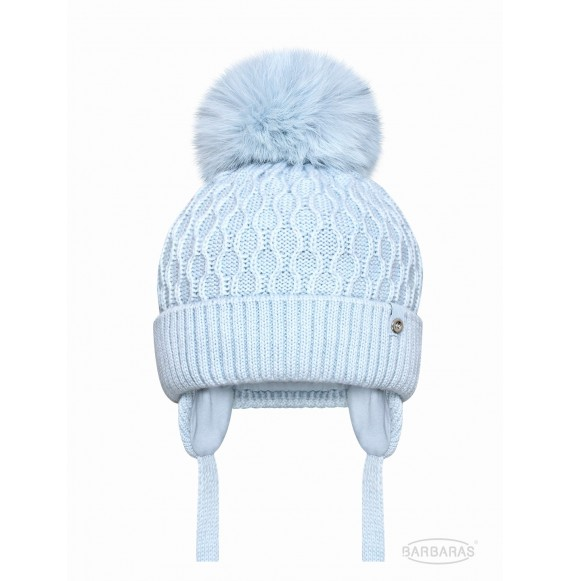 BARBARAS - Cappello in lana nido d'ape con pon pon in pelliccia