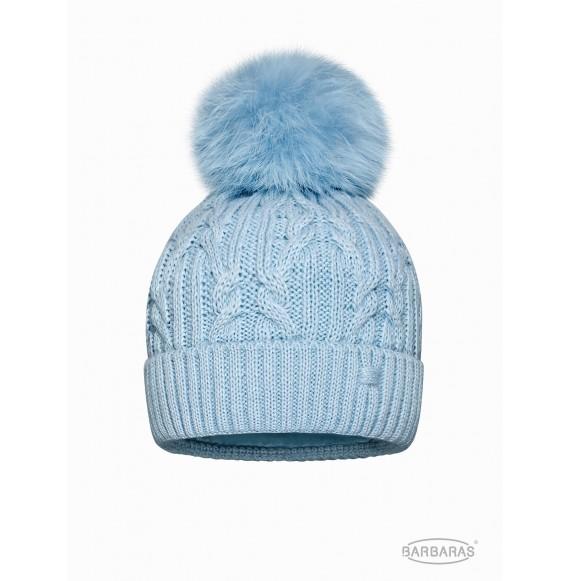 BARBARAS - Cappello in lana trecce con pon pon in pelliccia