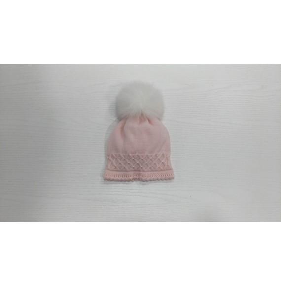 Primodì Bebé - Cappellino in lana con pon pon in volpe