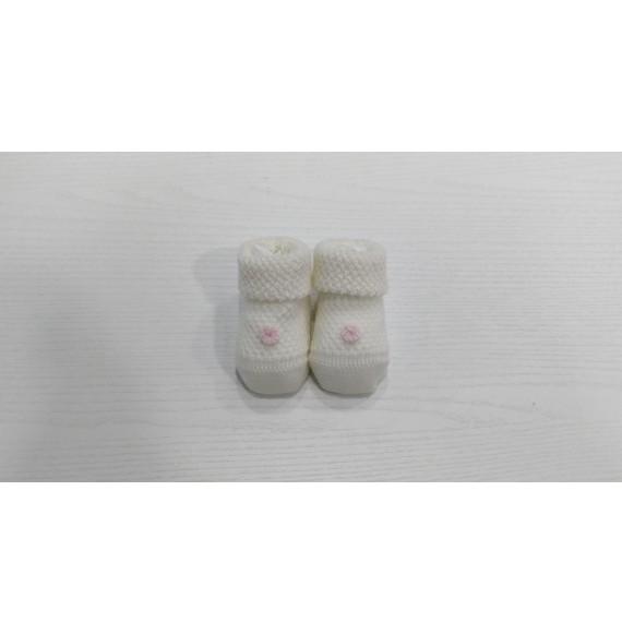 Primodì Bebé - Scarpine in lana con fiorellino
