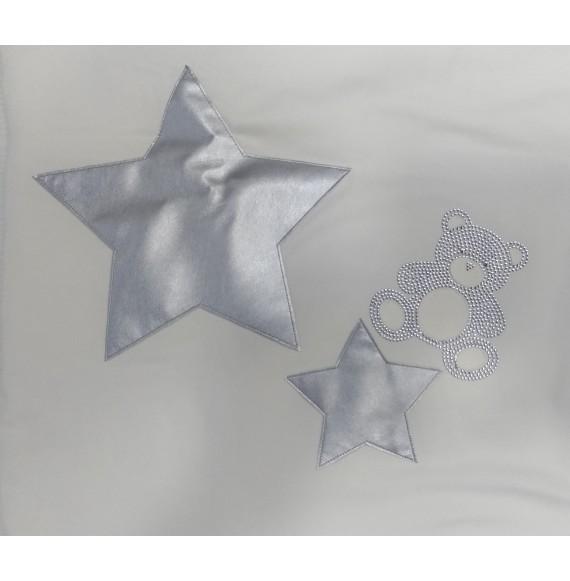 LòLò - Copertina imbottita in felpa con orsetto e stelle