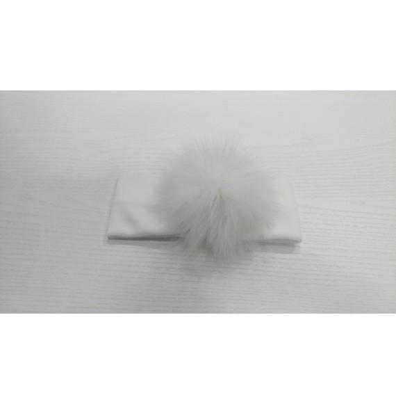 PIGNATELLI - Fascia in velluto con pon pon in ecopelliccia