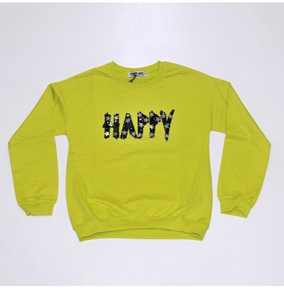 Felpa in cotone con paillettes HAPPY