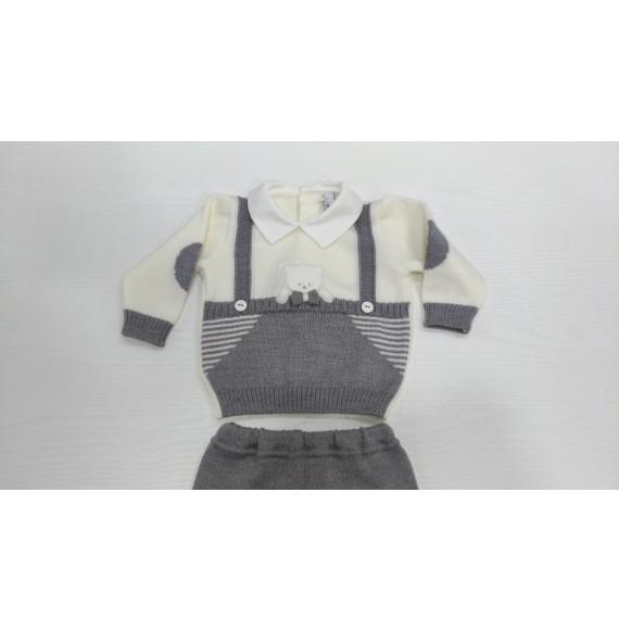 AURORA - Completo due pezzi lana con orsetto