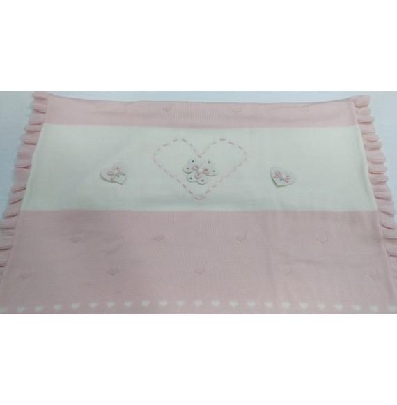 AURORA - Copertina scialle in lana con cuore e fiocchetti