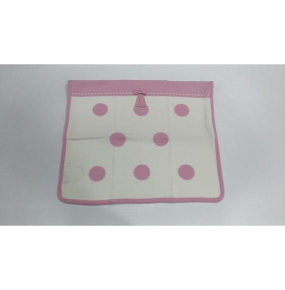 AURORA - Copertina scialle in lana a bolle con fiocco