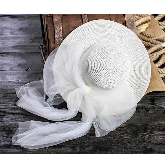 Les Gamins - Cappello in paglia con fiocco in tulle