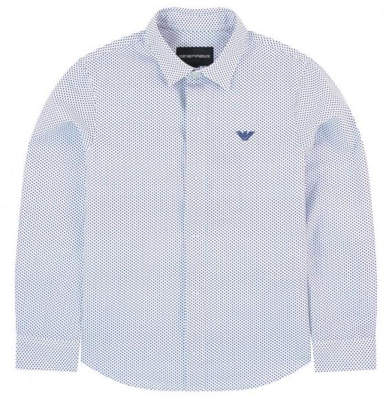 ARMANI - Camicia fantasia con ricamo logo