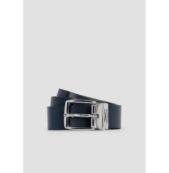 ARMANI - Cintura in vella pelle reversibile