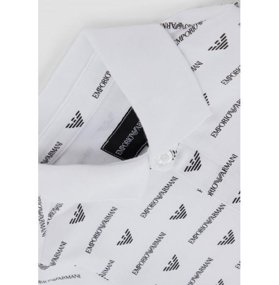 ARMANI - Polo mezza manica con stampa logo