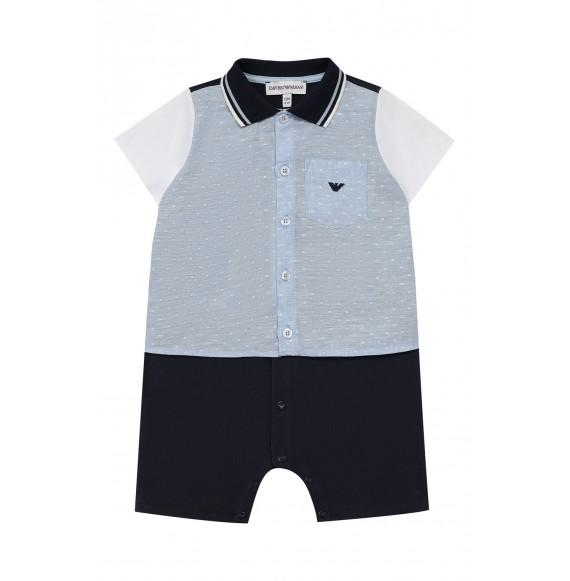ARMANI - Pagliaccetto con colletto e finta camicia sovrapposta