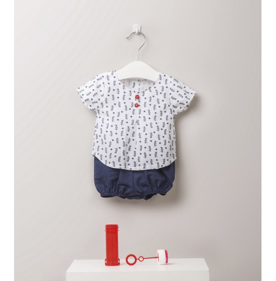 JULIANA - Completo camicia ippocampi e bermuda