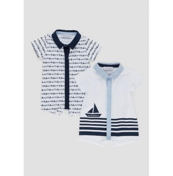 ARMANI - Set 2 pagliaccetti fantasia con collo camicia