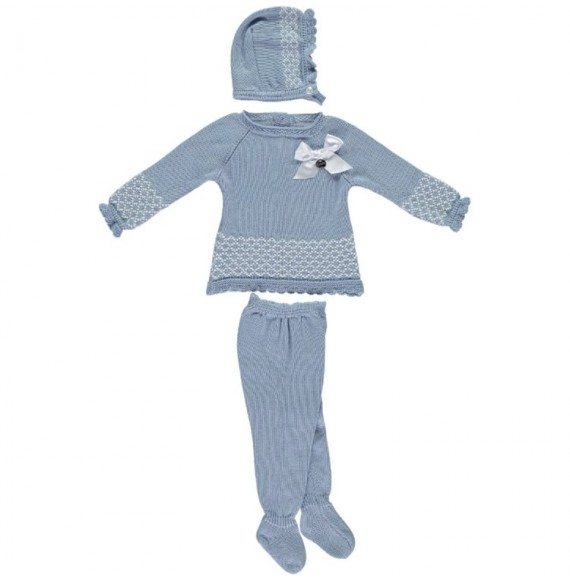 JULIANA - Completo in maglia con fiocco e cuffia