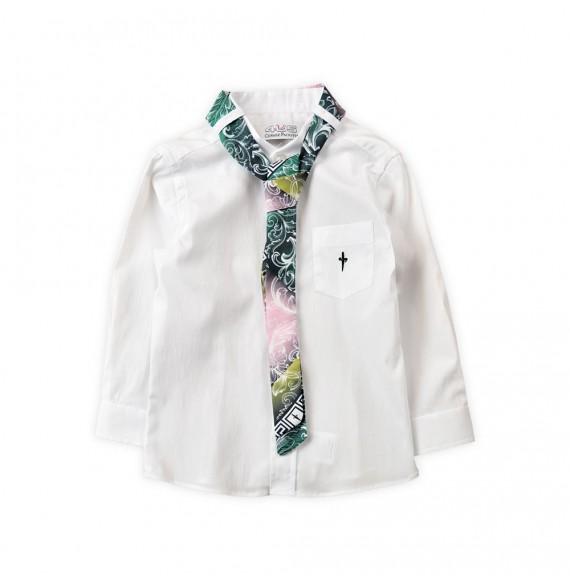 PACIOTTI - Camicia collo coreana con cravatta fantasia