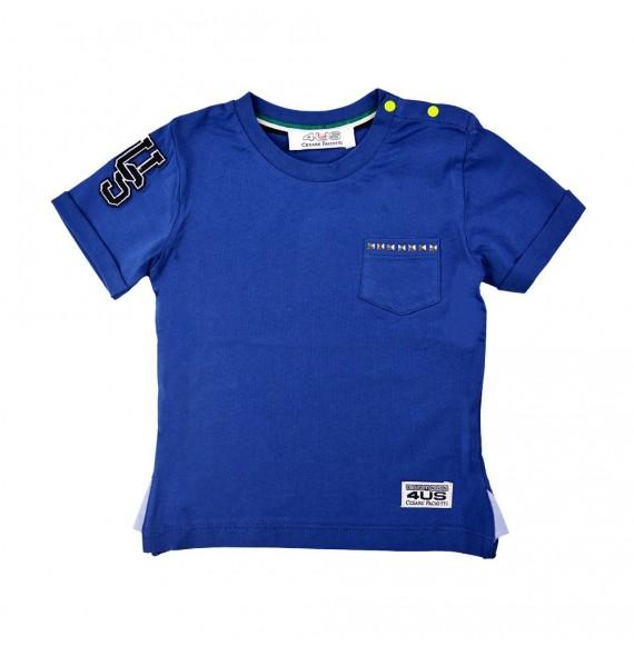 PACIOTTI - T-shirt con taschino e borchie