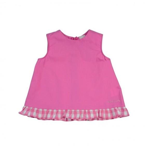 Nanan - Blusa giro maniche con rouches quadri