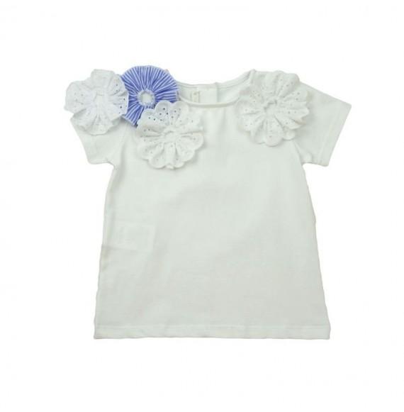 Nanan - T-shirt con fiori in Sangallo
