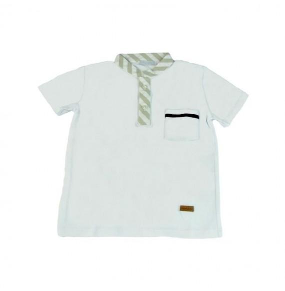 Nanan - T-shirt serafino con collo rigato