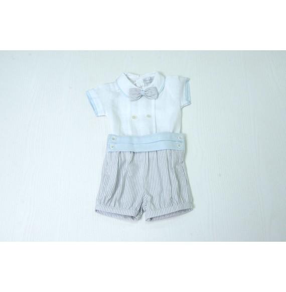 Ciccino - Completo corto 3 pezzi con camicia in lino e papillon