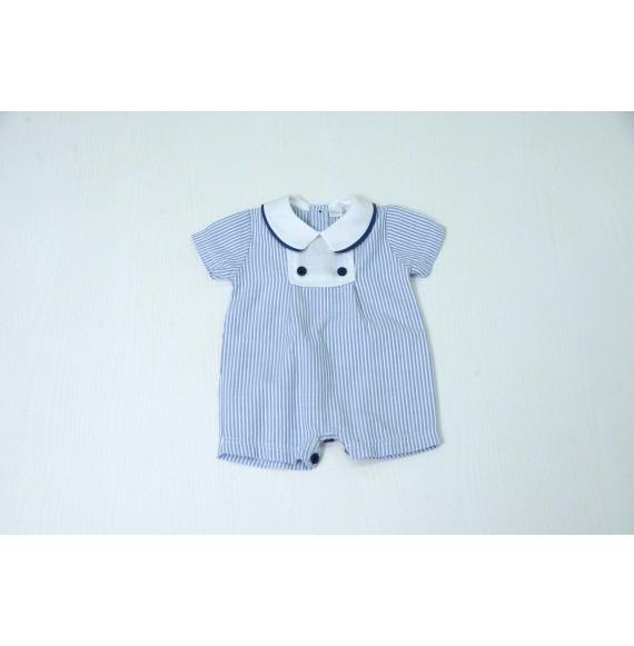 Ciccino - Pagliaccetto righe con collo camicia in lino