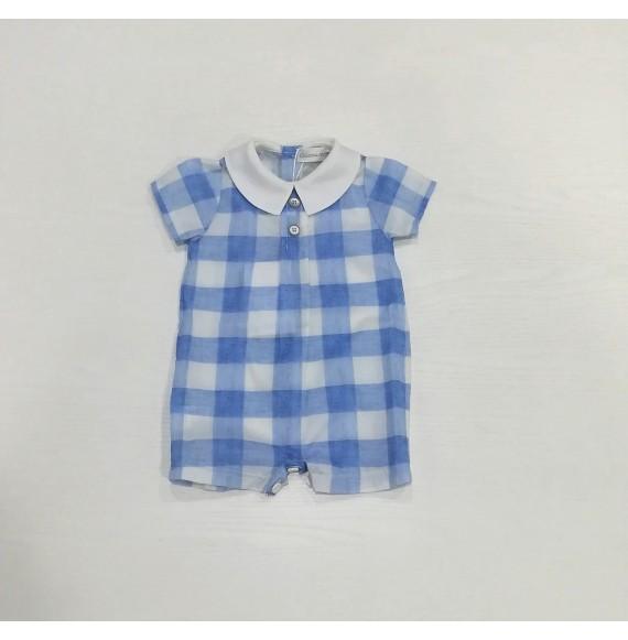 Ciccino - Pagliaccetto a quadri con collo camicia in lino