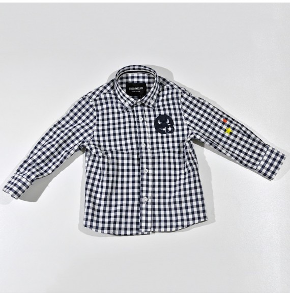 Camicia manica lunga a quadri con stampe