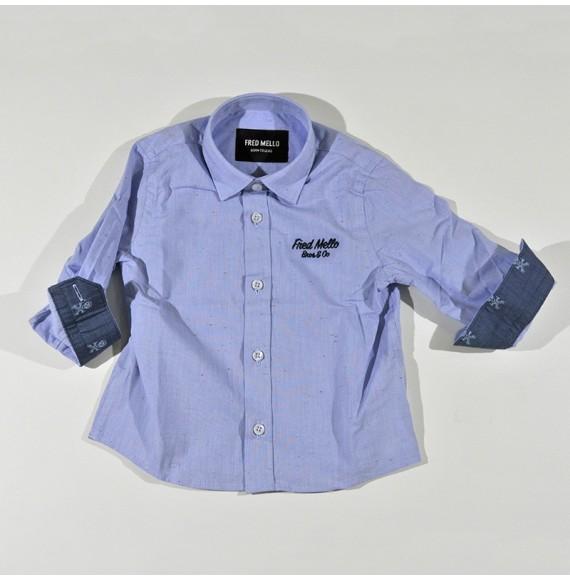 Camicia manica lunga con ricamo
