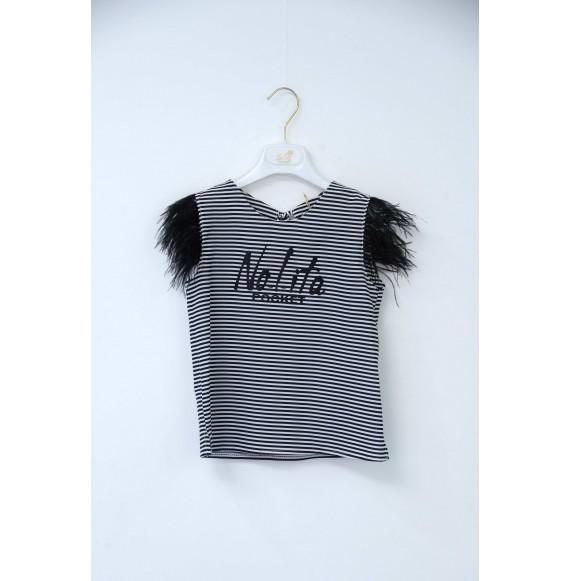 Nolita - Blusa a righe con piume