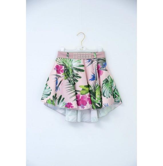 Nolita - Gonna fantasia fiori con cintura in ecopelle