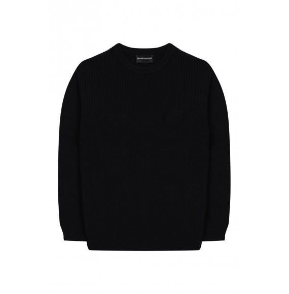 ARMANI - Pullover girocollo con patch logato