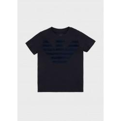 ARMANI - T-shirt in jersey con logo in rilievo