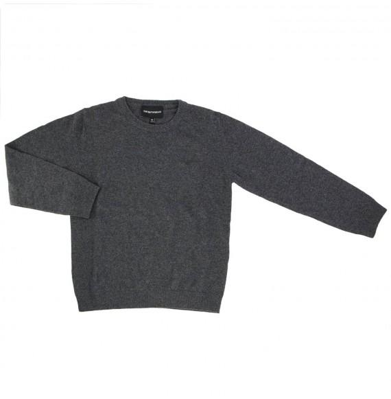 ARMANI - Pullover girocollo rasato con logo gommato