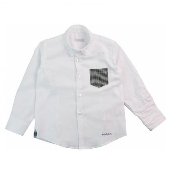 NANAN - Camicia con taschino pied de poule