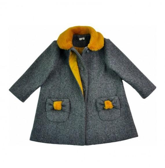 NANAN - Cappotto in panno con tasce e pelliccia