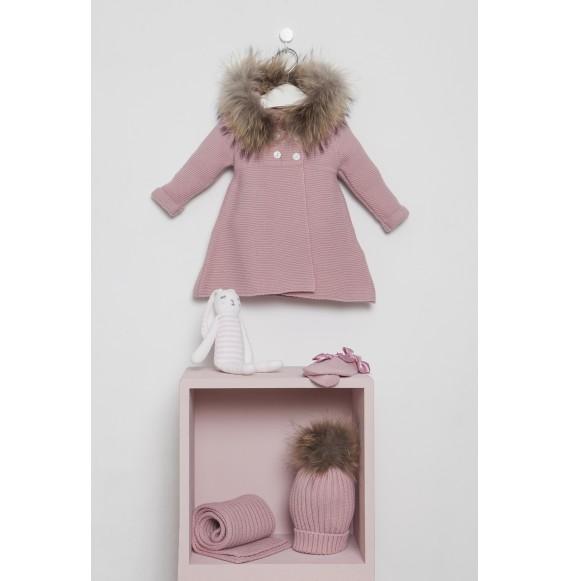 Juliana - Cappottino in maglia con cappuccio e pelliccia
