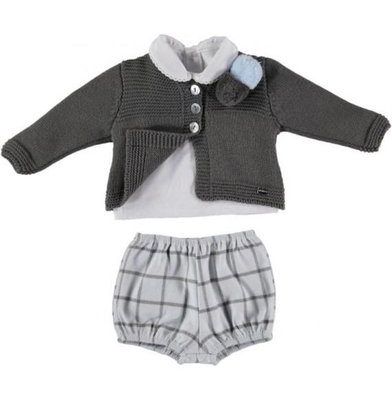 Juliana - Completo 3 pezzi con cardigan in maglia e pantalone quadri