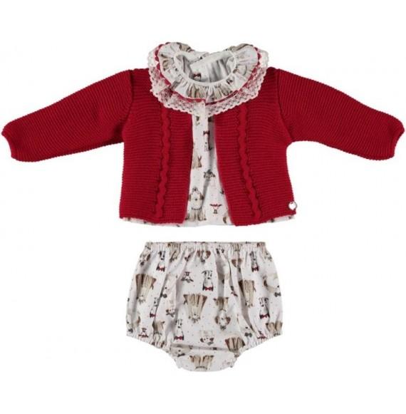 Juliana - Completo camicia e coulotte fantasia con cardigan in maglia