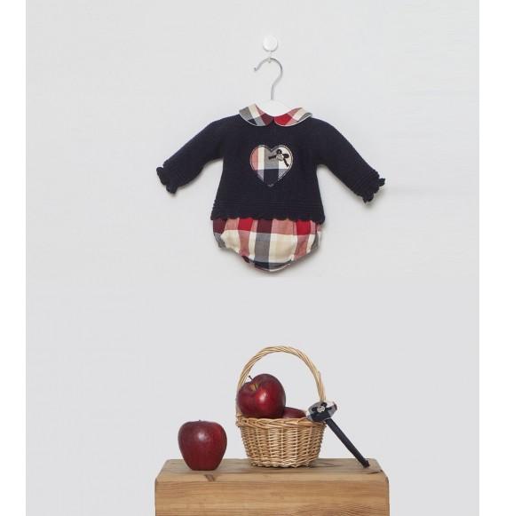 Juliana - Completo in maglia con coulotte quadri