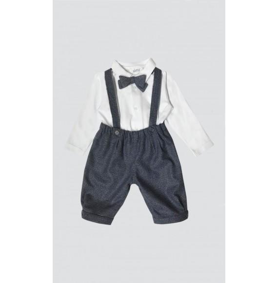 Aletta - Set pantalone con bretelle,camicia e papillon