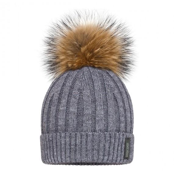 BARBARAS - Cappello in lana a costine con pon pon in pelliccia