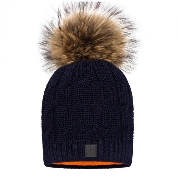BARBARAS - Cappello in lana a trecce con pon pon in pelliccia