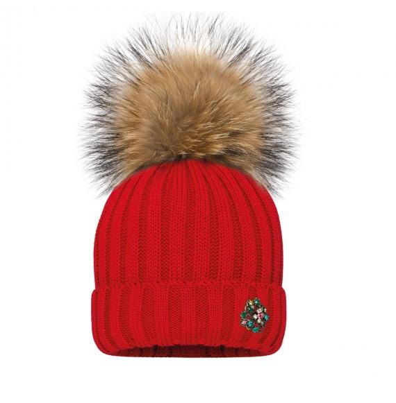 BARBARAS - Cappello in lana con applicazione e pon pon in pelliccia