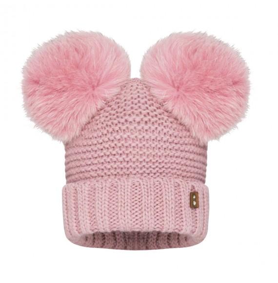 BARBARAS - Cappello in lana con doppio pon pon in pelliccia