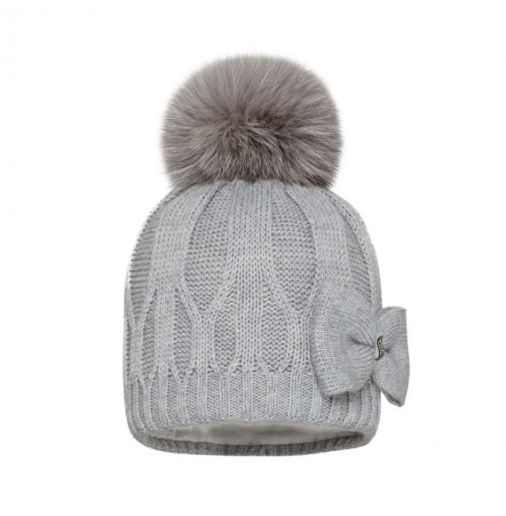 BARBARAS - Cappello in lana con fiocco larerale e pon pon in pelliccia