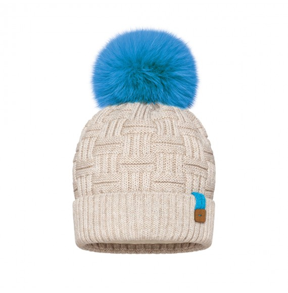 BARBARAS - Cappello in lana con pon pon in pelliccia a contrasto