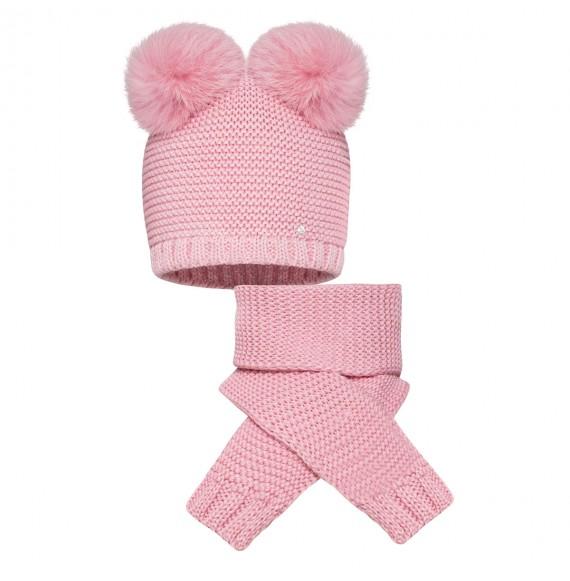 BARBARAS - Set cappello in lana con doppio pon pon e sciarpa