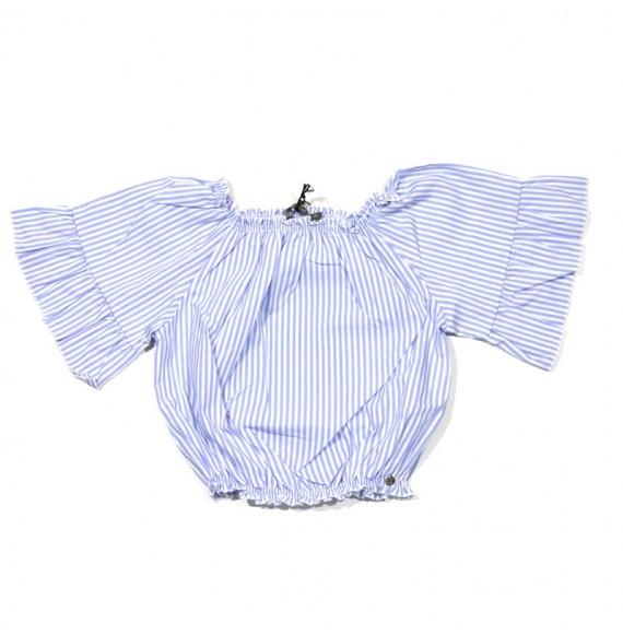 Blusa mezza manica a righe con rouches